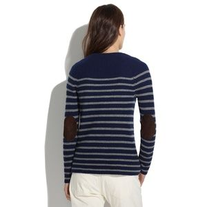 Madewell Sweaters - Madewell | wool stripe leather elbow patch sweater